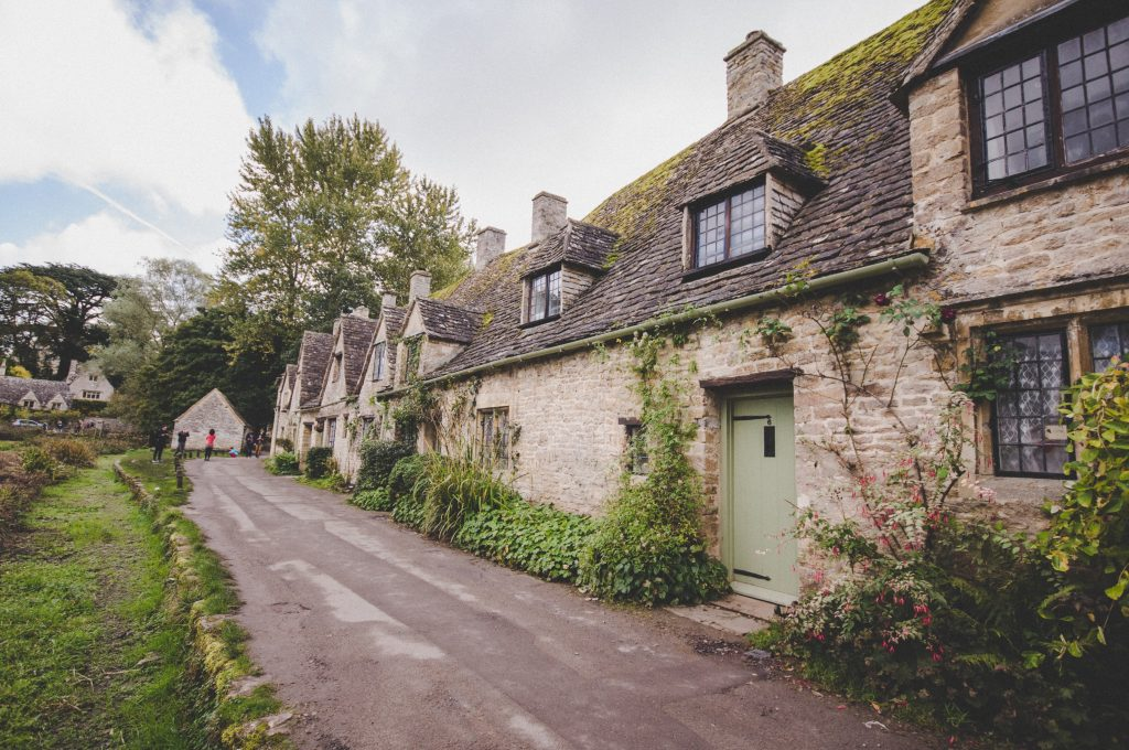 Cotswold Road With Cottages On